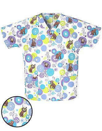 Buy Cherokee Hq Women V Neck Monkey Bubble Printed Scrub
