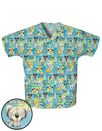 Cherokee HQ Womens V-Neck Pet Shop Boys Scrub Top
