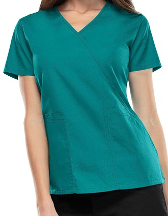 Cherokee WorkWear Solid Mock Wrap Scrub Top
