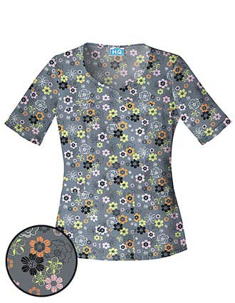 Cherokee HQ Womens Novelty V-Neck Spring-ing Up Scrub Top