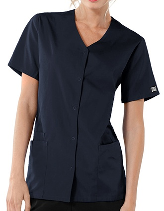 Cherokee Workwear Women's Short Sleeve Snap Scrub Top-CH-4770
