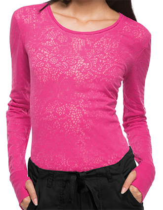 Cherokee Workwear Womens Crew Neck Long Sleeve Knit Tshirt