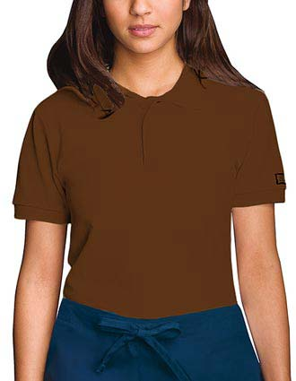Cherokee Work Wear Unisex Chocolate Polo Nursing Scrub Shirt-CH-4868