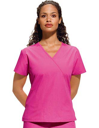 Cherokee Workwear Women Two Pocket  Mock Wrap Top-CH-4880