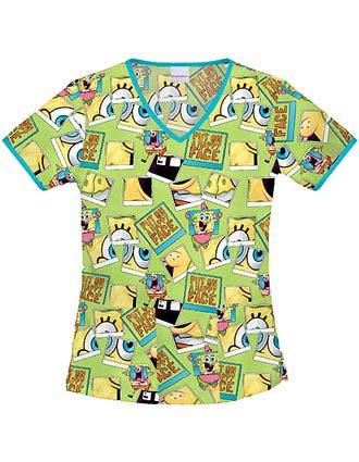 Buy Tooniforms Women Spongebob Happy Face V Neck Scrub Top