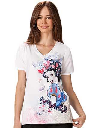 Office 365 Cherokee >> Buy Tooniforms Women V-Neck Snow White Printed Scrub Top for $22.45