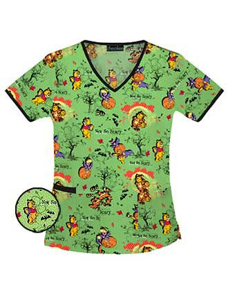 Tooniforms Women V-Neck Not So Scary Pooh Scrub Top