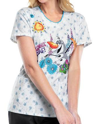 Tooniforms Disney Women's Celebrate Olaf V-Neck Top