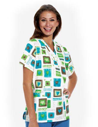 Clearance Sale! Women Victorian Hearts Printed V-neck Nurse Scrub Top by Cherokee