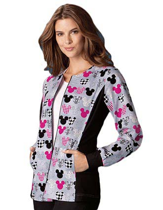 Clearance Sale! Cherokee Women Zip Front M-I-C-K-E-Y Printed Medical Warm-Up Scrub Jacket