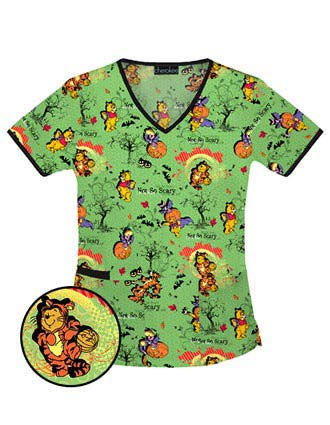 Clearance Sale! Tooniforms Women V-Neck Not So Scary Pooh Top