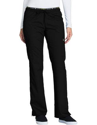 Cherokee Luxe Sport Womens Petite Mid Rise Straight Leg Pull-on Scrub Pant