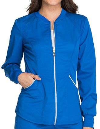 Cherokee Luxe Sport Womens Crew Neck Zip Front Warm-up Solid Scrub Jacket-CH-CK300
