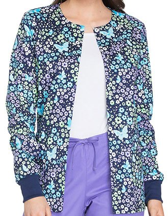 Cherokee Genuine Womens Love The Way You Fly Print Snap Front Warm-up Jacket