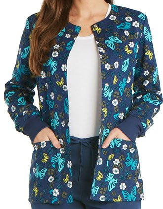 Cherokee Genuine Women's Wing Around The Posy Snap Front Warm-up Jacket-CH-CK301WA