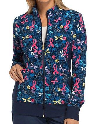 Cherokee Navy Blooms Women's Zip Front Knit Panel Warm-Up Jacket