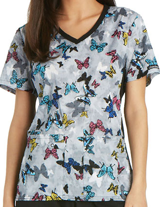 Cherokee Bold Statement Women's V-Neck Knit Panel Printed Scrub Top
