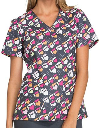Cherokee Genuine Womens Got The Hearts For You Print Mock Wrap Top.