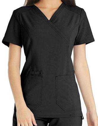 Cherokee iflex Women's Knit Panel Mock Wrap Top