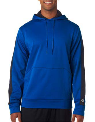 S220 Champion Adult Performance Color Block Hooded Pullover Fleece-CH-S220