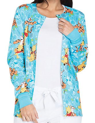 Tooniforms Disney Womens My Tigger Friend Print Snap Front Warm-Up Jacket