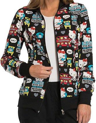 Cherokee Tooniforms Women's Hello Friends Zip Front Warm-up Jacket