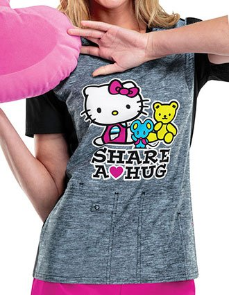 Tooniforms Women's Hello Kitty Share V-Neck Top