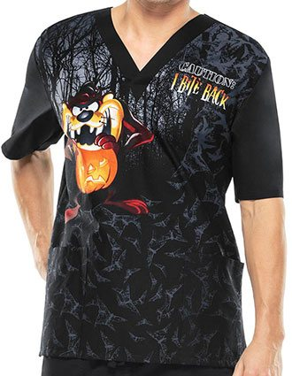 Tooniforms Halloween Unisex Taz-O-Lantern V-Neck Printed Top