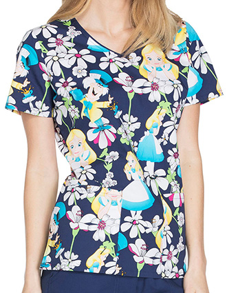 Tooniforms Disney Women's Alice Looking Glass V-Neck Top