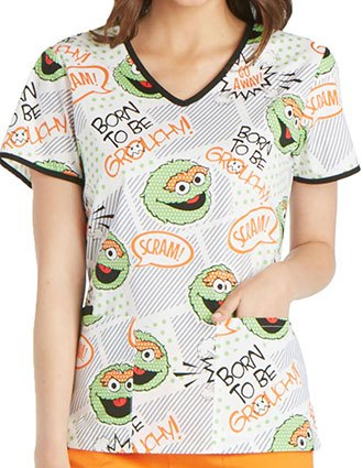 Tooniforms Halloween Women's Born to Be Grouchy Sesame Street Print Top