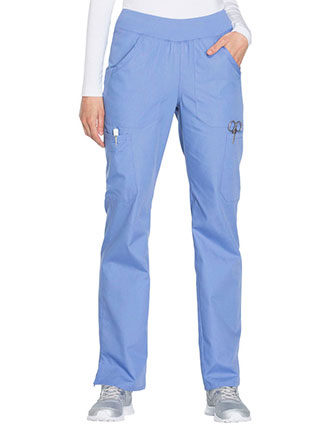 Cherokee Workwear Women's Mid Rise Straight Leg Pull-on Cargo Pant