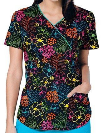 Code Happy Women's Tropic Like It's Hot Printed Mock Wrap Scrub Top