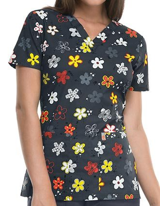 Code Happy Women's Doodling Daisies V-Neck Top-CO-46613ADD