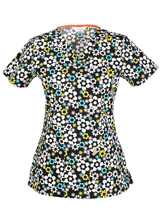 Code Happy Women's It's Flower Never Printed V-Neck Scrub Top