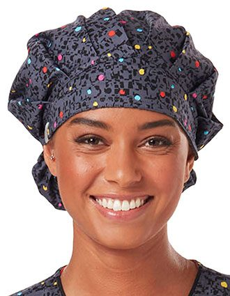 Code Happy Unisex So Speck-Tacular Printed Bouffant Scrub Hat
