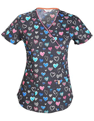 Code Happy Love Is In The Air Women's Antimicrobial Certainty Mock Wrap Top