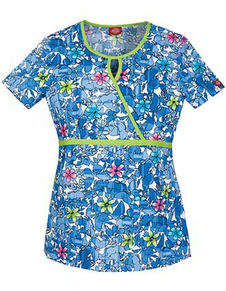Dickies EDS Into The Flight Women's Junior Fit Mock Wrap Printed Scrub Top