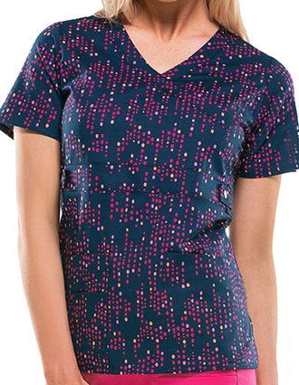 Dickies Women's Just Dot It Down Navy Printed Mock Wrap Scrub Top