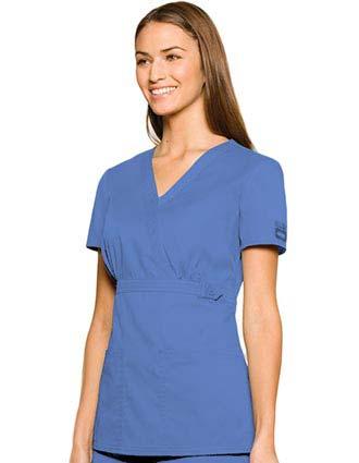 Dickies Enzyme Junior Fit Two Pocket Mock Wrap Nurses Scrub Top-DI-82758