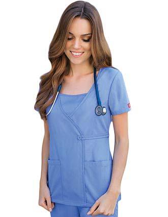 Dickies EDS Junior Solid Mock Wrap Nursing Scrub Top