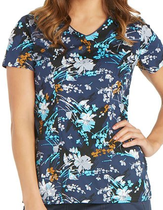 Dickies Paint It Grand Women's Brush Stroke Blooms Printed V-Neck Scrub Top