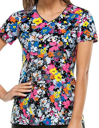 Dickies Desert Sun Women's Fabulous Floral Printed V-Neck Scrub Top