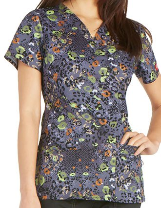 Dickies Women's It's A Wild World Printed V-Neck Top