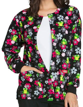 Dickies EDS Women's Flower Hopping Printed Snap Front Warm-Up Scrub Jacket
