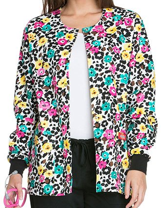 Dickies Everyday Scrubs Signature Women's Purrfect Petals Printed Snap Front Warm-Up Scrub Jacket