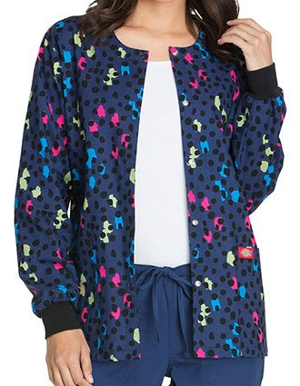 Dickies EDS Women's Spot-fetti Printed Snap Front Warm-Up Scrub Jacket