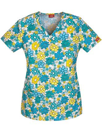 Dickies Women's The Daisies Go By V-Neck Printed Scrub Top