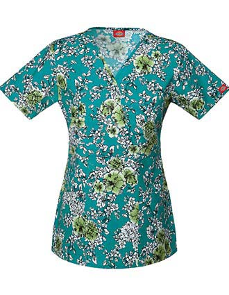 Dickies EDS Women's Drawn To Florals Mock Wrap Top