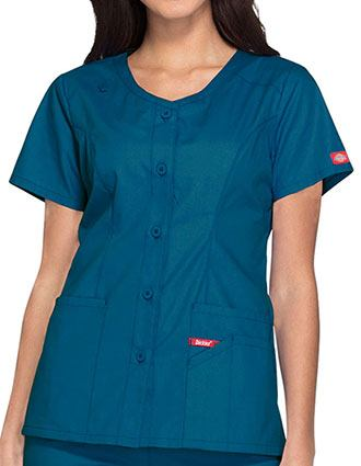 Dickies EDS Signature Women's Button Front V-Neck Fashion Top
