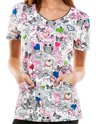 Dickies EDS Women's Hoo's Garden Is This Printed Scrub Top